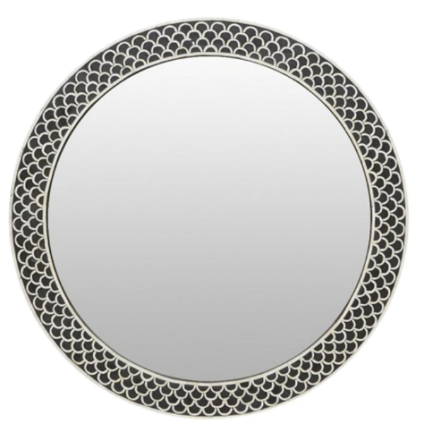 Black Floral Embossed Bone Round Mirror