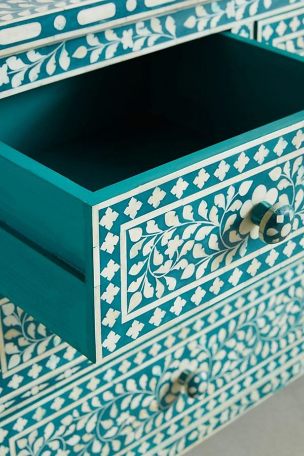 Closeup of teal green open Drawer
