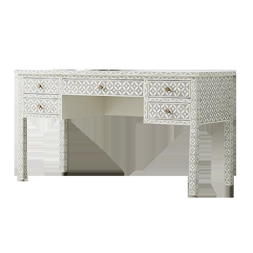 Bone Inlay 5 Drawer Desk in Celtic Grey