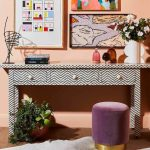 Bone Inlay Console with Zigzag pattern in a room