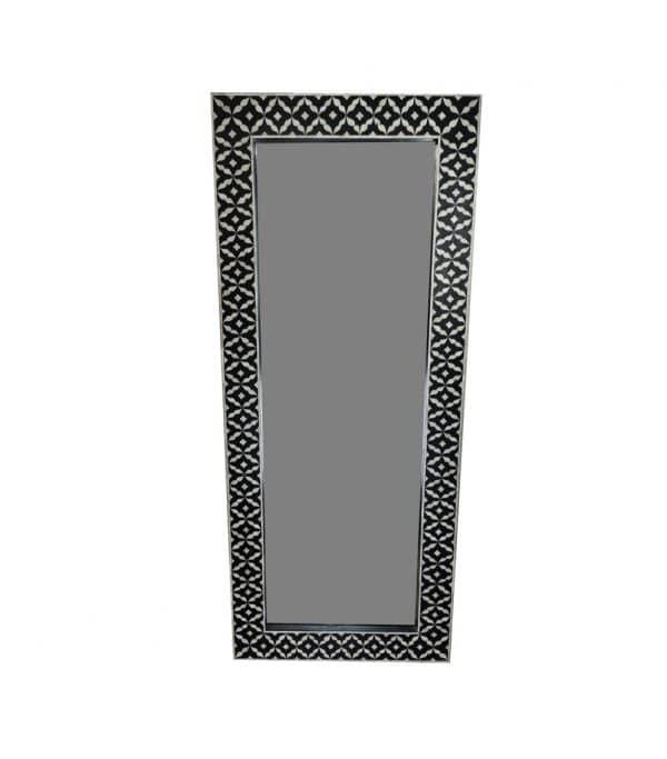 Black Semi Geo Bone Floor mirror
