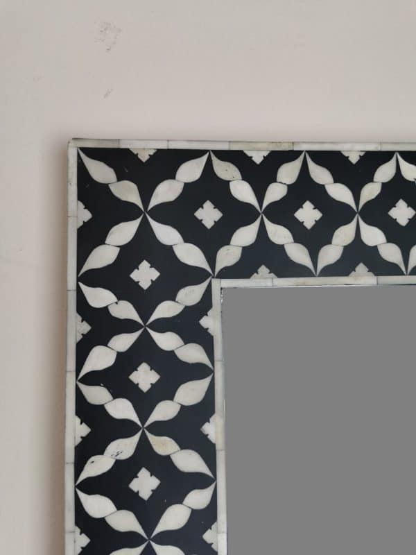 Closeup Shot of Black Semi Geo Bone Floor mirror Frame