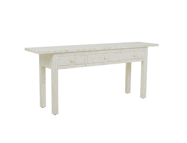 Floral Pattern Bone Inlay Console in Oriental Style from Side View