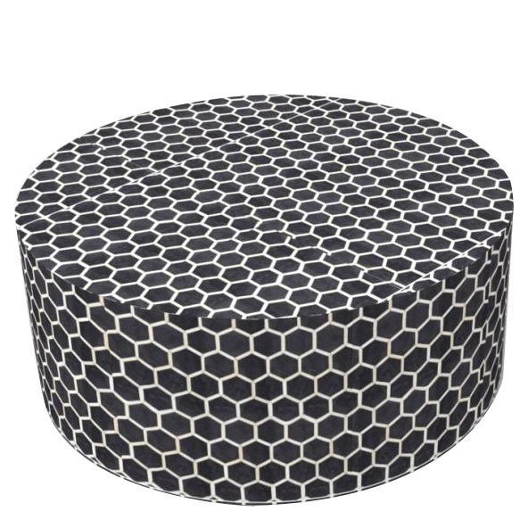 Bone Inlaid Round Coffee Table with Honeycomb pattern