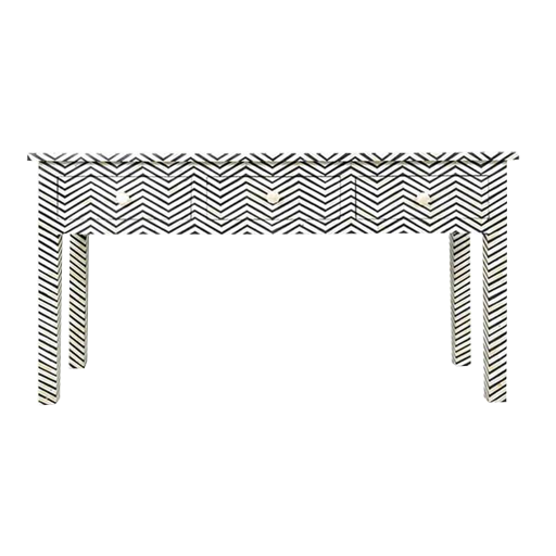 Bone Inlay Console with Zigzag pattern and 3 Drawers