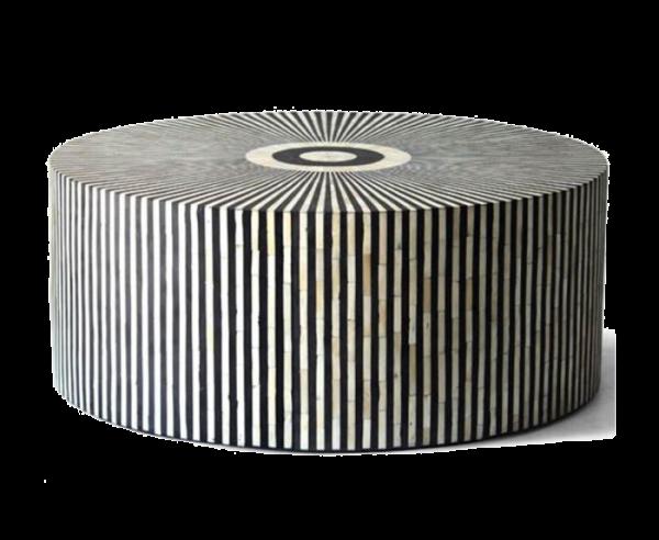 Bone Inlay Center Table Stripe Design Black