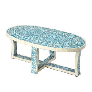 Oval Shaped Bone Inlay Floral Coffee Table in Blue
