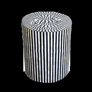 Bone Inlay Illusion Stripe Side Table Grey