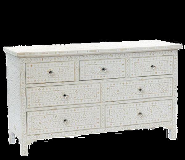Bone Inlay White 7 Drawers Sideboard