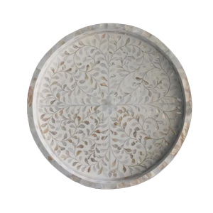 Mother of Pearl Inlay Large Round Tray in White from Top