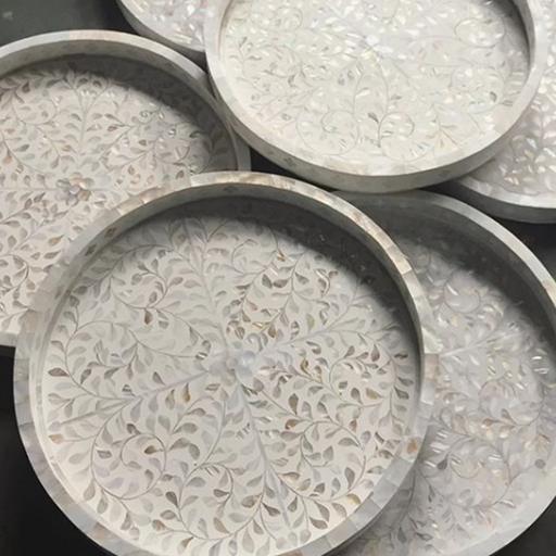 Many Mother of Pearl Inlay Large Round Trays