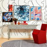 Bone Inlay Console with Zigzag pattern in a room with Red Chair
