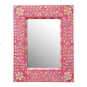 Pink Handmade Bone Inlay Mirror Frame