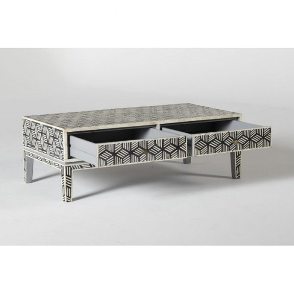 Bone Inlay Geometric Cubic Design Coffee Table with open Drawers