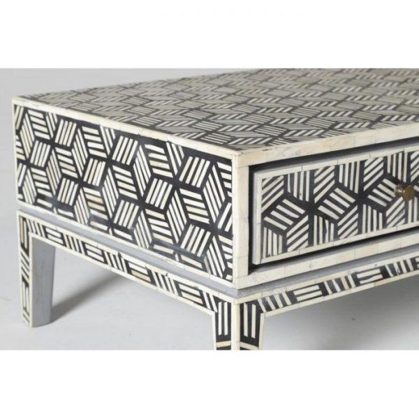 Bone Inlay Geometric Cubic Design Coffee Table