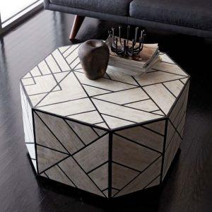 Bone inlay Geometric Coffe Table in a room
