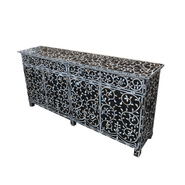 Mother of Pearl Sideboard with Vine Pattern side view
