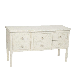 Geometric Bone Inlay 6 Drawers Console Table in White