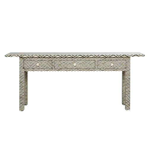 Bone Inlay Console with Zigzag pattern