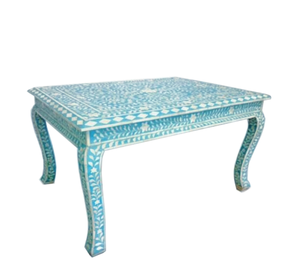 Blue Bone Inlay Coffee Table Table with Floral pattern and Curved Legs