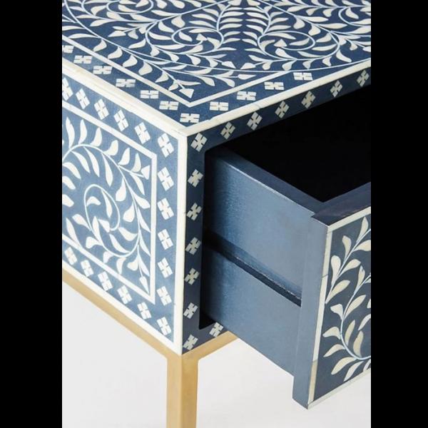 Blue Bone Inlay Floral Pattern nightstand Closeup