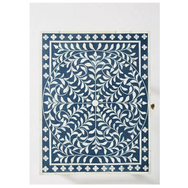 Blue Bone Inlay Floral Pattern nightstand Top View