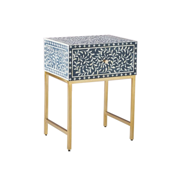 Blue Bone Inlay Floral Pattern nightstand with brass metal Stand