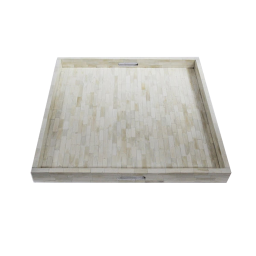 Full Ivory Bone Inlay Tray Square from top View