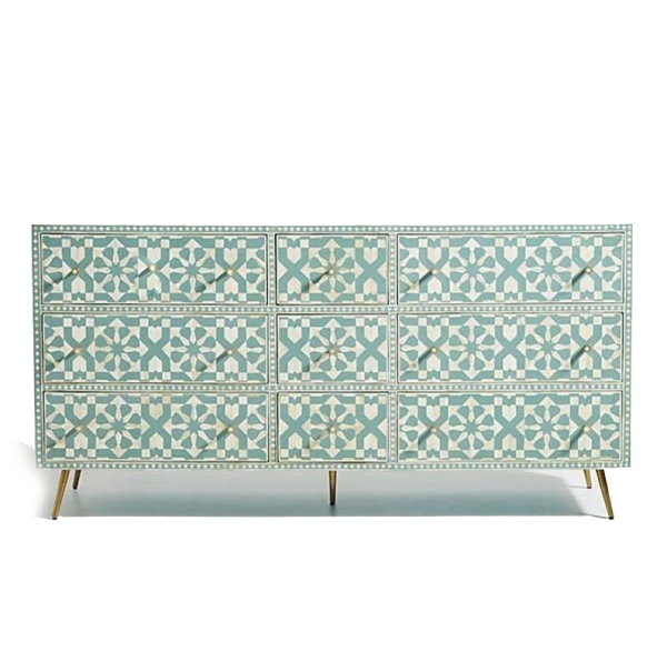 Moroccan Design Bone Inlay Dresser in Green