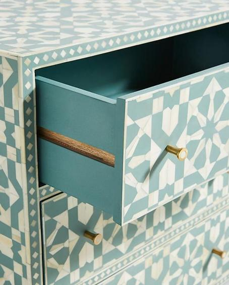 Moraccan Green Buffet with an Open Drawer
