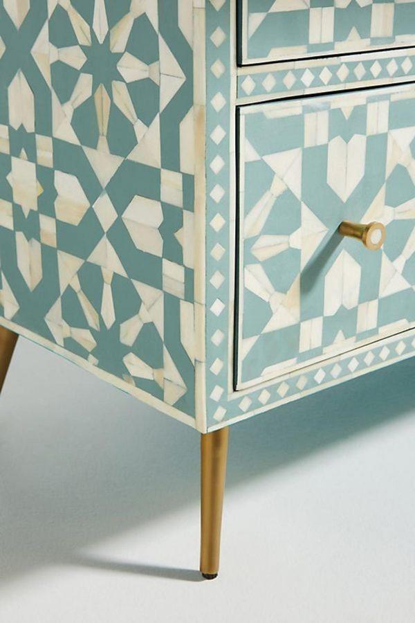 Closeup Shot of Moroccan Green Buffet with Brass Legs