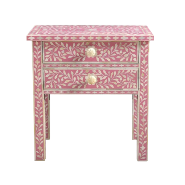 Pink Bone Inlay Floral Pattern Side Table