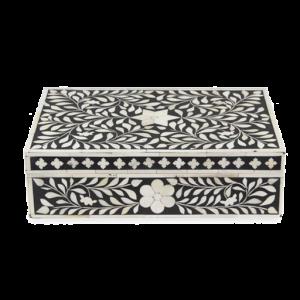 Black Handmade Bone Inlay Jewelry Box