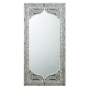 Mother of Pearl Inlay Grey Leaf Pattern Mirror Frame