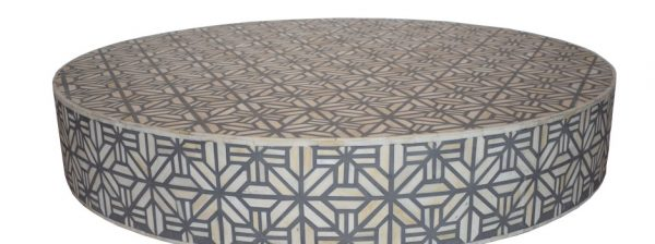 Round Grey bone Vector inlay coffee table with Brass base
