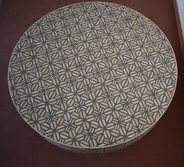 Round Grey bone Vector inlay coffee table top view