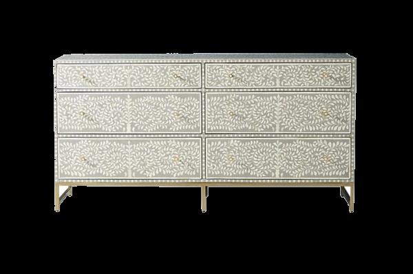 Scroll Vine Bone Inlay Dresser with six Drawers