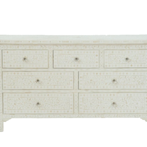 White Bone Inlay 7 Drawer Dresser