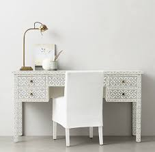 Bone Inlay 5 Drawer Desk in Celtic Grey with white chair
