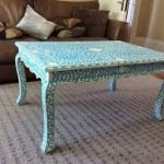 Blue Floral Bone Inlay Coffe Table With Curved Legs
