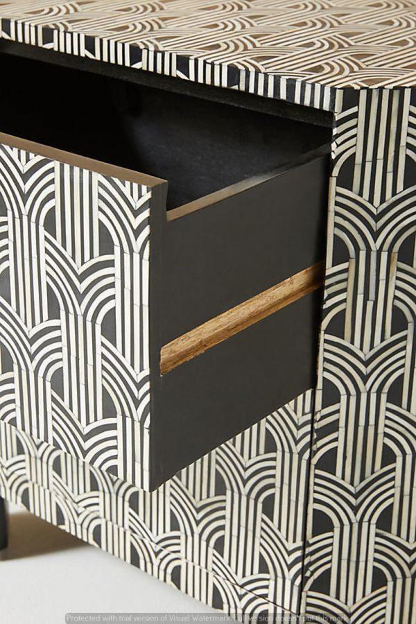 Handmade Bone Inlay Nightstand's open Drawer closeup