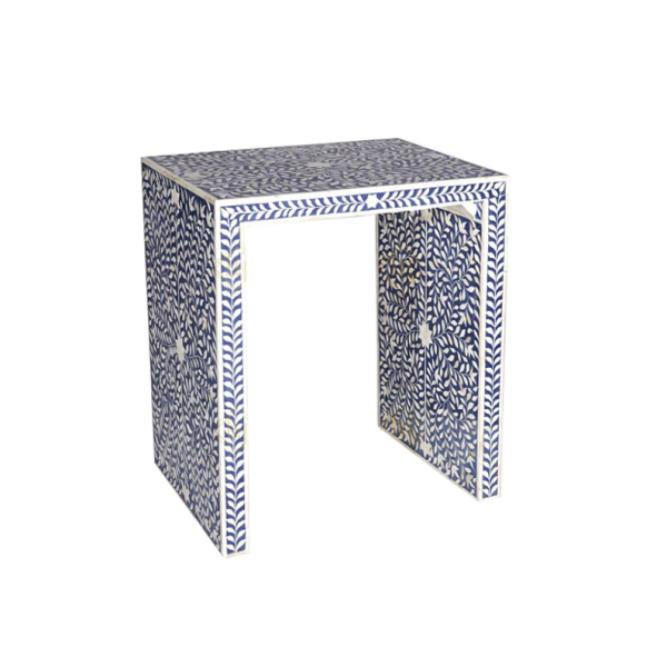 Bone Inlay Floral Design Side Table Blue
