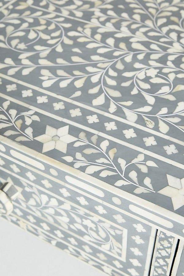 Closeup of Handmade Bone Inlay Floral Coffee Table in Grey