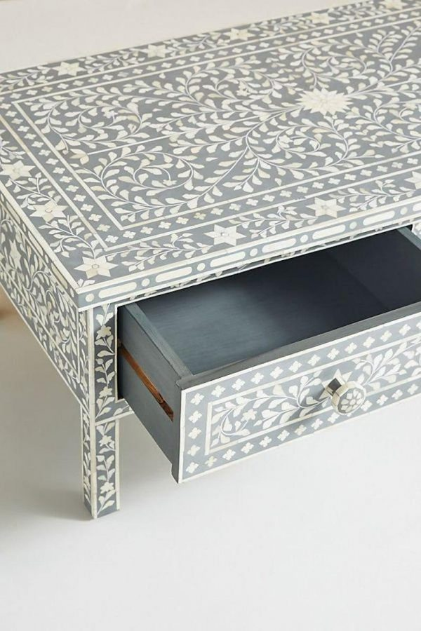 Handmade Bone Inlay Floral Coffee Table with an Open Drawer