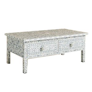 Handmade Bone Inlay Floral Coffee Table in Grey