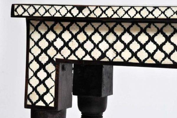 Handmade Mughal pattern Bone Inlay Console Table Closeup