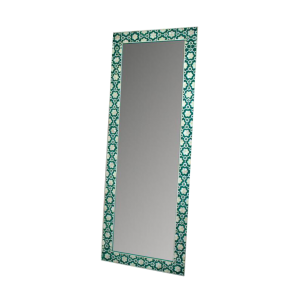Handmade Bone Inlay Mirror Frame with Floral Pattern