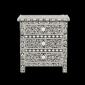 Bone Inlay 3-Drawer Bedside - Floral