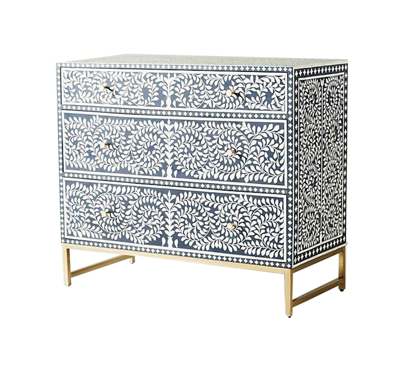Bone INlay Chest With 3 Drawers and navy Blue Floral Design