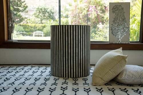 Bone Inlay Illusion Stripe Side Table Grey in a Room